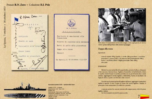 Menu degli anni '30, serviti nella base navale di La Spezia